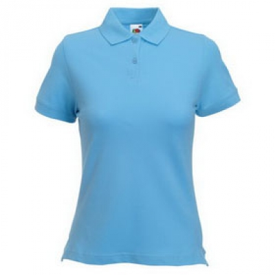 Дамски тип Лакоста Fruit of the Loom - 180гр  - Светло синя тениска тип Лакоста на Fruit of the Loom - 180гр