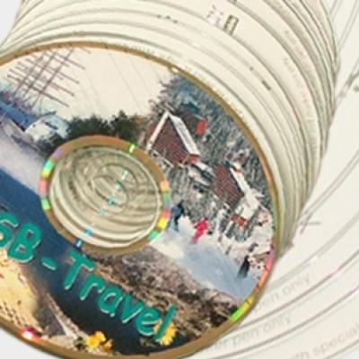 Печатни изделия - Самозалепващи етикети за CD с пълноцветен печат.